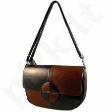 DAN-A T121A rankinė iš natūralios odos , moteriška    juoda/konjako