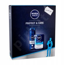 Nivea Men Protect & Care, rinkinys losjonas po skutimosi vyrams, (After-Shave Care 2in1 100 ml + skutimosi putos 200 ml)