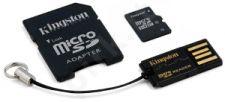 Atminties kortelė Kingston microSDHC 16GB CL4 + Adapteris ir skaitytuvas