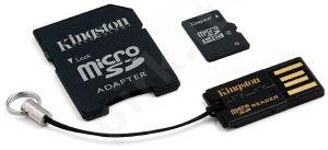 Atminties kortelė Kingston microSDHC 32GB CL4 + Skaitytuvas ir adapteris