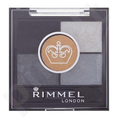Rimmel London Glam Eyes HD 5-Colour akių šešėliai, kosmetika moterims, 3,8g, (023 Foggy Grey)