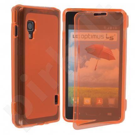 LG L5 II silikoninis dėklas ULTRA GT oranžinis permatomas