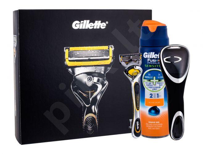 Gillette Fusion Proshield, rinkinys skutimosi peiliukai vyrams, (Shaver with one head 1 pc + skutimosi želė Fusion Proglide Sensitive Active Sport 170 ml + shaver case 1 pc)