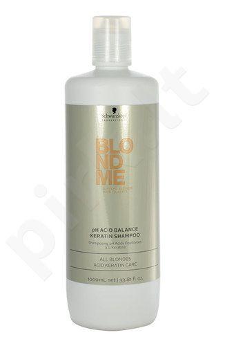 Schwarzkopf Blond Me pH Acid Balance keratino šampūnas šviesiaplaukiems, kosmetika moterims, 1000ml