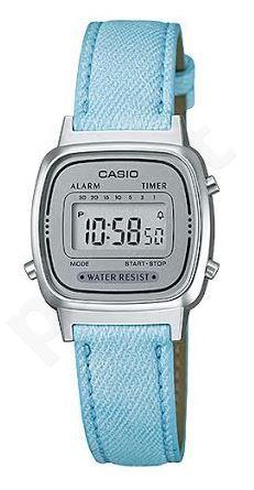 Laikrodis CASIO   LA-670WL-2A JEANS Strap. chronografas.  . Timer. wr 30 **ORIGINAL BOX**