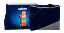 Gillette Flexball, Fusion Proglide, rinkinys skutimosi peiliukai vyrams, (Shaver with One Head + skutimosi želė Fusion5 Ultra Sensitive 200 ml + kosmetika krepšys)