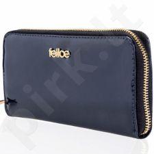 Odinė piniginė moteriška lakuota P05 tamsiai mėlyna