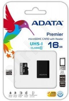 Atminties kortelė  Adata microSDHC UHS1 16GB + MikroSkaitytuvas