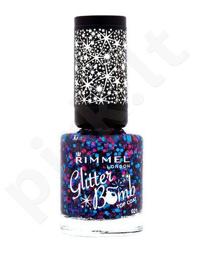 Rimmel London Glitter Bomb Top nagų lakas, kosmetika moterims, 8ml, (018 Disco Fever)