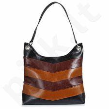 DAN-A T159 rankinė iš natūralios odos , moteriška  juoda/konjako/