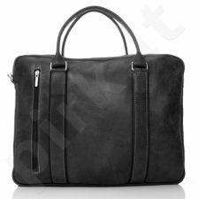 PAOLO PERUZZI 069-PP juoda rankinė odinė nešiojamam kompiuteriui GA20
