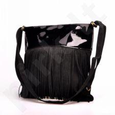 MADE IN ITALY Postino 173 rankinė odinė, kuprinė  juoda