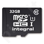 Atminties kortelė Integral microSDHC 32GB CL10 + Adapteris