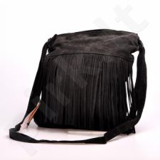 MADE IN ITALY Postino 175 rankinė odinė, kuprinė  juoda