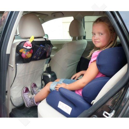 Apsauga sėdynės nugarai (trys kišenėlės, skaidrus)
