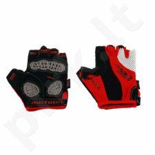 Pirštinės dviratininkams Meteor GEL BX-4 raudonai-juodos