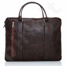 PAOLO PERUZZI 069-PP tamsiai ruda rankinė odinė nešiojamam kompiuteriui GA20