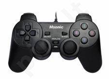 Žaidimų valdymo pultas Vakoss USB MSONIC MN3329BK, vibro funkcija