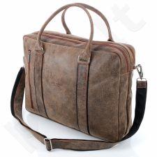 PAOLO PERUZZI 069-PP šviesiai ruda rankinė odinė nešiojamam kompiuteriui GA20