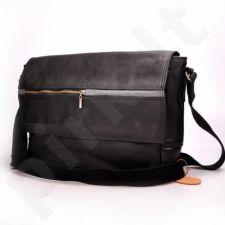 MADE IN ITALY Postino 179 rankinė odinė nešiojamam kompiuteriui unisex juoda