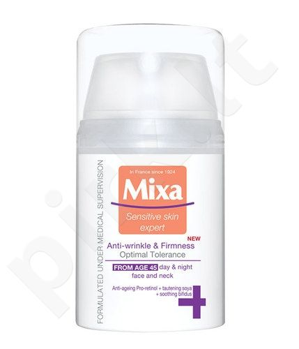 Mixa Anti-Wrinkle & Radiance kremas 45+, kosmetika moterims, 50ml