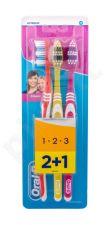 Oral-B Toothbrush, Classic, dantų šepetėlis moterims ir vyrams, 3pc, (Red, Yellow, Pink)