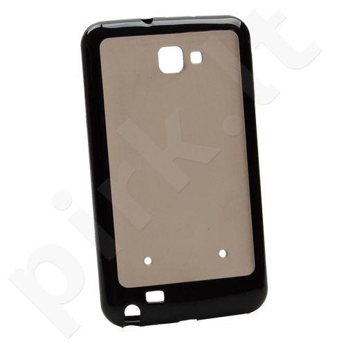 Dėklas apsauginis Samsung N7000 Galaxy Note Juodas/Permatomas kietas