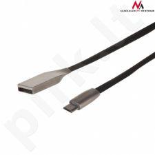 Maclean MCTV-833B Cable  USB AM micro flat tangle-free 1m black metal