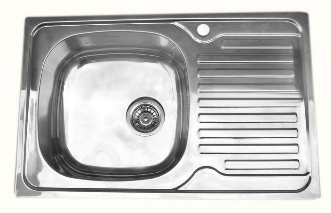 Nerūdijančio plieno plautuvė 7203 DEKOR dešinė su sifonu