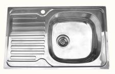 Nerūdijančio plieno plautuvė 7203 DEKOR kairė su sifonu