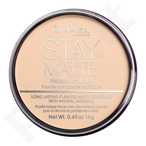 Rimmel London Stay Matte Long Lasting presuota pudra, kosmetika moterims, 14g, (005 Silky Beige)