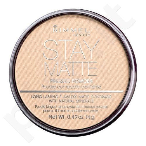 Rimmel London Stay Matte Long Lasting presuota pudra, kosmetika moterims, 14g, (006 Warm Beige)