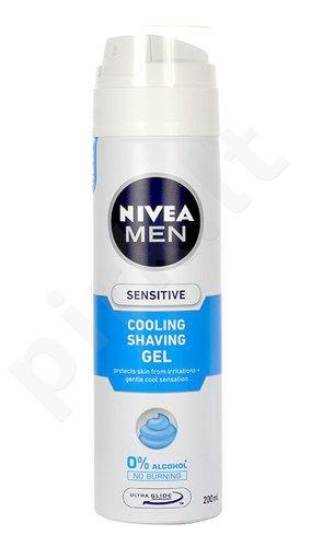 Nivea Men Sensitive Cooling skutimosi želė, kosmetika vyrams, 200ml