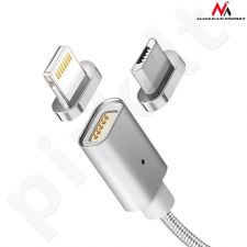 Maclean MCE161 Metal magnetic data cable 1m lightning Quick & Fast Charge silver