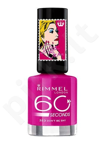 Rimmel London 60 Seconds nagų lakas By Rita Ora, kosmetika moterims, 8ml, (323 Dont Be Shy)
