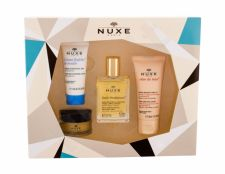 NUXE Multi Purpose Dry Oil Face, Body, Hair, Huile Prodigieuse, rinkinys kūno aliejus moterims, (Dry Oil 30 ml + Daily Facial Care Creme Fraiche de Beauté 15 ml + lūpų balzamas Reve de Miel 15 g + rankų kremas Reve de Miel 30 ml)