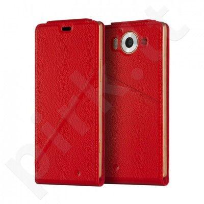 Microsoft Lumia 950 XL atverčiamas dėklas Flip Mozo raudonas
