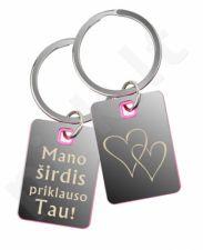 """Graviruotas raktų pakabukas """"Mano širdis priklauso Tau!"""""""