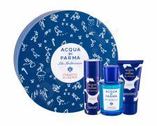 Acqua di Parma Chinotto di Liguria, Blu Mediterraneo, rinkinys tualetinis vanduo moterims ir vyrams, (EDT 75 ml + dušo želė 40 ml + kūno losjonas 50 ml)