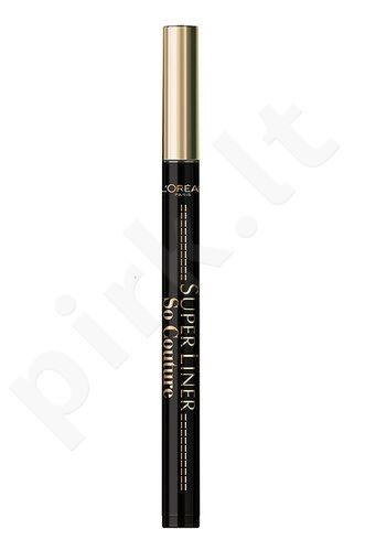 L´Oreal Paris Super Liner So Couture akių kontūrų priemonė atsparus vandeniui, kosmetika moterims, 5g, (Balck)