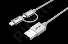 Unitek Žaibas kabelis Lightning/ microUSB 100cm, MFI, Y-C4031SL