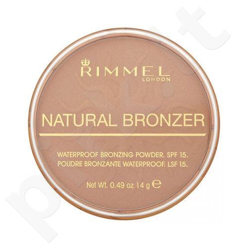 Rimmel London Natural Bronzer atsparus vandeniui Bronzing pudra SPF15, kosmetika moterims, 14g, (021 Sun Light)