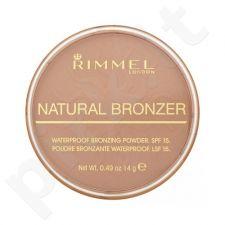 Rimmel London Natural Bronzer atsparus vandeniui Bronzing pudra SPF15, kosmetika moterims, 14g, (022 Sun Bronze)