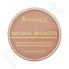 Rimmel London Natural Bronzer atsparus vandeniui Bronzing pudra SPF15, kosmetika moterims, 14g, (026 Sun Kissed)