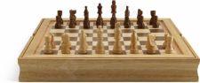 Šachmatų, šaškių, Tria rinkinys medinėje dėžutėje