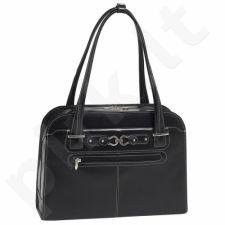 MCKLEIN Oak Grove  išskirtinė juoda rankinė iš natūralios odos , moteriška nešiojamam kompiuteriui 15,4