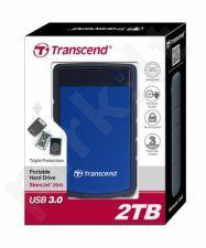 Išorinis diskas Transcend 25H3B 2.5'' 2TB USB3, Triguba smūgių slopinimo sistema