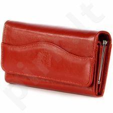 P142 raudona odinė piniginė moterims