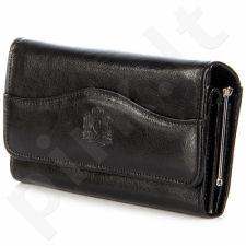 P142 juoda odinė piniginė moterims