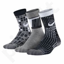 Kojinės Nike Cotton Cushion Multi-Graphic Crew Sock 3pak Junior SX5097-904